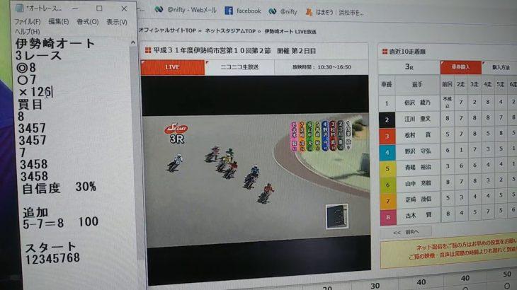 3月16日伊勢崎オートレース3レース的中