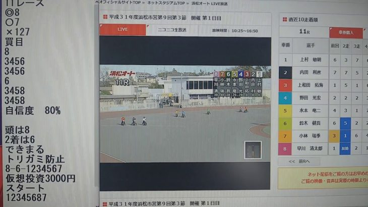 3月9日浜松オートレース11レース的中