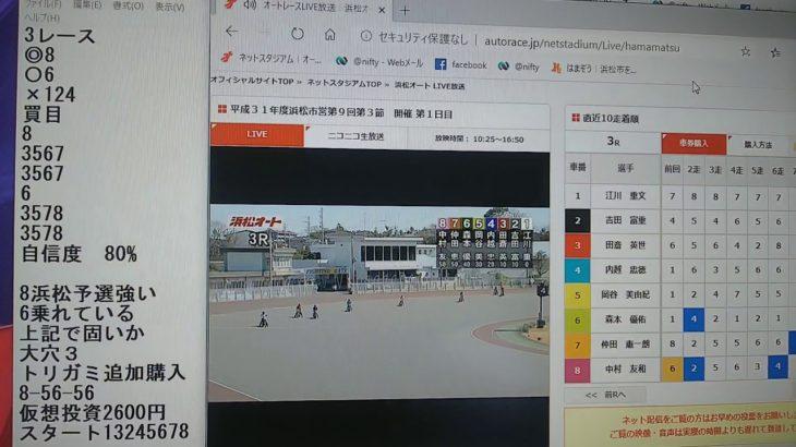 3月9日浜松オートレース3レース的中